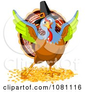 Clipart Colorful Thanksgiving Turkey Bird Wearing A Pilgrim Hat Royalty Free Vector Illustration