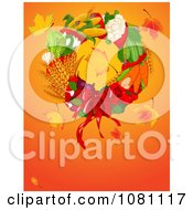 Clipart Autumn Harvest Thanksgiving Wreath With Leaves And Copyspace Royalty Free Vector Illustration