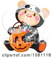 Clipart Halloween Skeleton Teddy Bear With A Jackolantern Candy Basket Royalty Free Vector Illustration