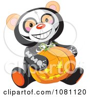 Clipart Halloween Skeleton Teddy Bear Holding A Jackolantern Pumpkin Royalty Free Vector Illustration