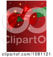 Clipart Scratched Red Gift Wrap Bow And Ribbon Christmas Background Royalty Free Vector Illustration