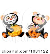 Halloween Skeleton Teddy Bears Holding A Jackolantern Pumpkin And A Candy Basket