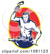 Clipart Retro Blacksmith Hammering Over A Red Oval Royalty Free Vector Illustration