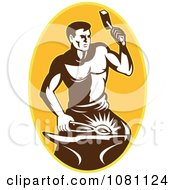 Clipart Retro Blacksmith Hammering Over A Yellow Oval Royalty Free Vector Illustration