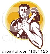 Retro Blacksmith With A Hammer On His Shoulder Over A Yellow Circle