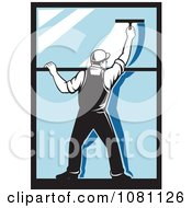 Clipart Retro Window Washer Using A Squeegee Royalty Free Vector Illustration by patrimonio
