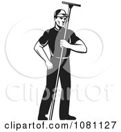 Clipart Retro Black And White Window Washer Holding A Squeegee Royalty Free Vector Illustration