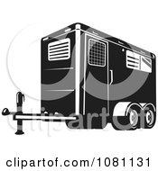 Clipart Retro Black And White Horse Trailer Royalty Free Vector Illustration by patrimonio