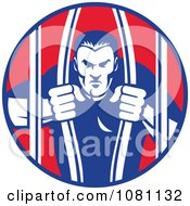 Clipart Retro Prisoner Bailing Out Of Prison Bars Royalty Free Vector Illustration
