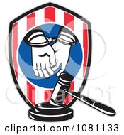 Clipart Handcuffed Convict Shield And Judge Gavel Royalty Free Vector Illustration