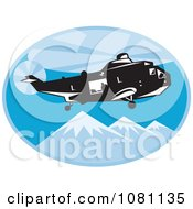 Clipart Retro Search And Rescue Helicopter Over Mountains Royalty Free Vector Illustration by patrimonio