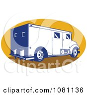 Retro Armored Bank Van On A Yellow Oval