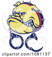 Clipart Tough Bulldog With Handcuffs In His Mouth Royalty Free Vector Illustration