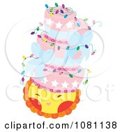 Clipart Pink Cake With Lights And Bows On A Happy Sun Royalty Free Vector Illustration