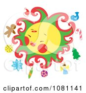 Clipart Christmas Themed Sun With Ornaments Royalty Free Vector Illustration by Cherie Reve