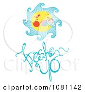 Clipart Sun Drinking Water Over Freshen Up Text Royalty Free Vector Illustration
