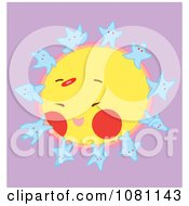 Clipart Happy Blue Stars Dancing On A Sun Royalty Free Vector Illustration