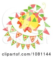 Clipart Happy Birthday Flag Banners Around A Sun Royalty Free Vector Illustration