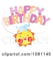 Clipart Elephant On A Sun Under Happy Birthday Royalty Free Vector Illustration