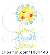 Clipart Sun With Houses Over Home Sweet Home Text Royalty Free Vector Illustration by Cherie Reve