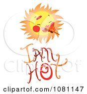 Clipart Sun With Flames Over I Am Hot Text Royalty Free Vector Illustration