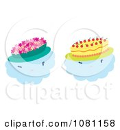 Clipart Clouds Wearing Flower And Cake Hats Royalty Free Vector Illustration by Cherie Reve