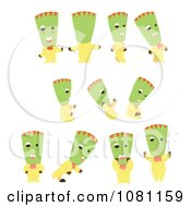 Clipart Green Headed Person In Different Poses Royalty Free Vector Illustration by Cherie Reve