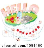 Clipart Blue Headed Person Eating Apples Under Hello Royalty Free Vector Illustration by Cherie Reve