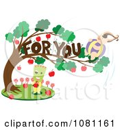Clipart Rounded Person In A For You Apple Tree Over A Green Headed Person Royalty Free Vector Illustration