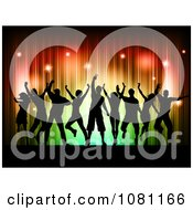 Clipart Silhouetted Dancers Against Red Orange And Green Sparkly Lights Royalty Free Vector Illustration