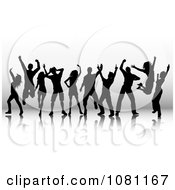 Clipart Silhouetted Dancers Over Shaded Gray Royalty Free Vector Illustration