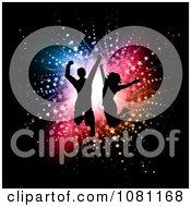 Clipart Silhouetted Dancers Jumping Against Colorful Stars And A Bright Light On Black Royalty Free Vector Illustration