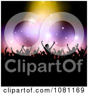 Clipart Silhouetted Audience Holding Their Arms Up Under Sparkly Lights With Black Copyspace Royalty Free Vector Illustration