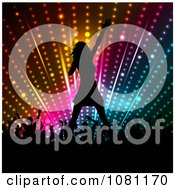 Clipart Silhouetted Female Singer And Fans Against Colorful Lights Royalty Free Vector Illustration
