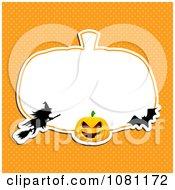 Clipart Witch Bat And Jackolantern Frame Over Orange Polka Dots Royalty Free Vector Illustration