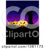 Clipart Evil Jackolanterns Under Bats A Bare Tree And Spider Royalty Free Vector Illustration by KJ Pargeter