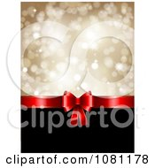 Clipart 3d Red Christmas Gift Bow With Black Copyspace And Gold Sparkles Royalty Free Vector Illustration
