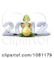 Clipart 3d Green Dragon Toasting With Champagne In Front Of New Year 2012 1 Royalty Free CGI Illustration