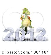 Clipart 3d Green Dragon Toasting With Champagne On A New Year 2012 Royalty Free CGI Illustration