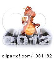 Clipart 3d Red Dragon Toasting With Champagne Over New Year 2012 1 Royalty Free CGI Illustration