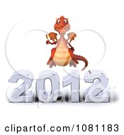 Clipart 3d Red Dragon Toasting With Champagne Over New Year 2012 2 Royalty Free CGI Illustration
