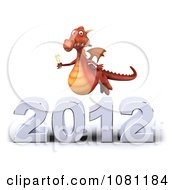 Clipart 3d Red Dragon Toasting With Champagne Over New Year 2012 3 Royalty Free CGI Illustration