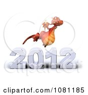 Clipart 3d Red Dragon Toasting With Champagne Over New Year 2012 4 Royalty Free CGI Illustration
