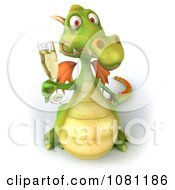 Clipart 3d Green Dragon Toasting With Champagne 1 Royalty Free CGI Illustration