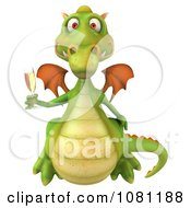 Clipart 3d Green Dragon Toasting With Champagne 2 Royalty Free CGI Illustration