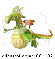 Clipart 3d Green Dragon Toasting With Champagne 3 Royalty Free CGI Illustration