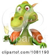 Clipart 3d Green Dragon Toasting With Champagne And A Blank Sign 1 Royalty Free CGI Illustration