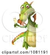 Clipart 3d Green Dragon Toasting With Champagne And A Blank Sign 2 Royalty Free CGI Illustration