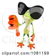 Clipart 3d Argie Frog Wearing Shades And Holding A Thumb Down Royalty Free CGI Illustration