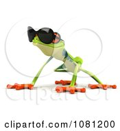 Clipart 3d Argie Frog Crouching And Wearing Shades Royalty Free CGI Illustration